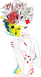 Woman  for carnaval. With abstract decorations Royalty Free Stock Images