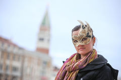 Woman with carneval mask Royalty Free Stock Photos