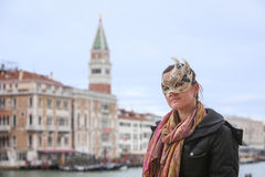 Woman with carneval mask in Venice Royalty Free Stock Photography