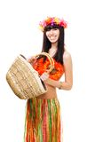 Woman in carnival costume with basket Stock Photos
