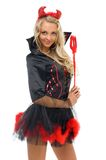 Woman in carnival costume.  Devil shape Stock Image