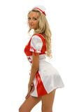 Woman in carnival costume. Nurse shape Royalty Free Stock Images