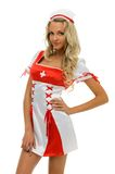 Woman in carnival costume. Nurse shape Stock Photo