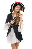 Woman in carnival costume. Pirate shape Stock Photography