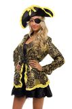 Woman in a carnival costume. Pirate shape. Royalty Free Stock Photo