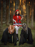 Woman in carnival costume. Sexy Little Red Riding Royalty Free Stock Photo