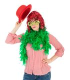 Woman in carnival costume with wig and bowler Royalty Free Stock Photos