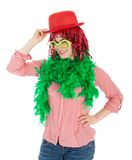 Woman in carnival costume with wig and bowler Stock Image