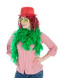 Woman in carnival costume with wig and bowler Stock Photos