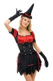 Woman in carnival costume. Witch shape Stock Images