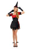 Woman in carnival costume.  Witch shape Stock Photos
