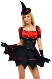 Woman in carnival costume.  Witch shape Royalty Free Stock Images