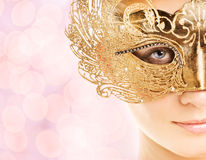 Woman in carnival mask. Beautiful young woman in carnival mask royalty free stock photo
