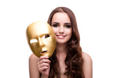 The woman with carnival mask isolated on white. Woman with carnival mask isolated on white Stock Photography