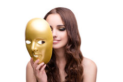 The woman with carnival mask isolated on white. Woman with carnival mask isolated on white Royalty Free Stock Photos