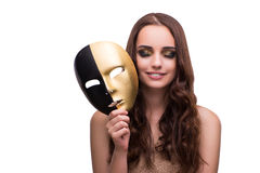 The woman with carnival mask isolated on white. Woman with carnival mask isolated on white Royalty Free Stock Photo