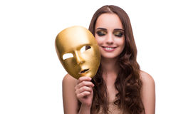 The woman with carnival mask isolated on white. Woman with carnival mask isolated on white Royalty Free Stock Photography
