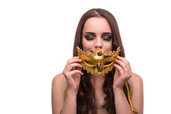 The woman with carnival mask isolated on white. Woman with carnival mask isolated on white Stock Images