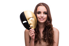 The woman with carnival mask isolated on white. Woman with carnival mask isolated on white Stock Image