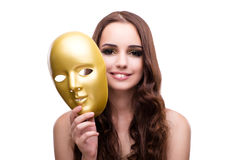 The woman with carnival mask isolated on white Royalty Free Stock Photo