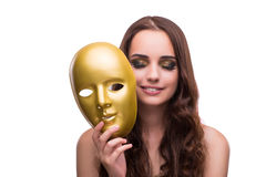 The woman with carnival mask isolated on white. Woman with carnival mask isolated on white Stock Photos