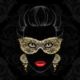 Woman in carnival mask. Vector illustration woman in decorative ornamental gold mask. Black and gold illustration abstract beauty girl Stock Photo