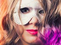 Woman with carnival venetian mask closeup Royalty Free Stock Photos