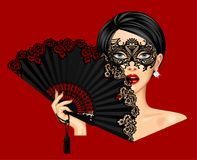 Woman in carnival Venetian mask and holding in her hand open bla. Ck vintage fan isolated on red. Vector illustration Stock Image