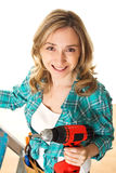 Woman carpenter Royalty Free Stock Image
