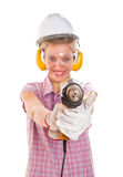 Woman carpenter Stock Photos
