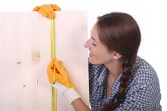 Woman carpenter royalty free stock photography