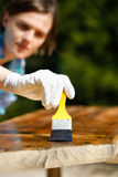 Woman carpenter inspecting freshly painted wood Stock Photography