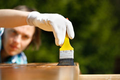 Woman carpenter inspecting freshly painted wood. Woman carpenter inspecting her work after treating wood with protection paint. Outdoor protection, carpentry Stock Images