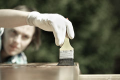 Woman carpenter inspecting freshly painted wood Stock Images