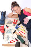 Woman Carpenter With Work Tools Stock Photo