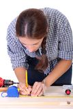 Woman carpenter at work Royalty Free Stock Images