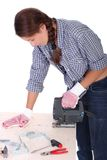 Woman carpenter at work Stock Photography