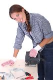 Woman carpenter at work Royalty Free Stock Photography