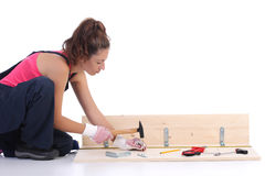 Woman carpenter at work Stock Photo