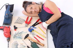 Woman carpenter with work tools Stock Photography