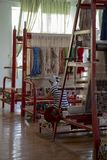 Woman at carpet factory, Samarkand, Uzbekistan royalty free stock photography