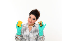 Woman in carrier cleaning a mug Stock Photo