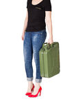 Woman carries jerrycan Royalty Free Stock Image