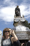 Woman carries sacred image of St. Domingo, Spain Stock Images