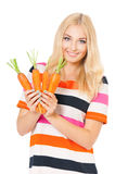 Woman with carrot Stock Photo