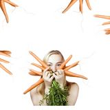 Woman with carrots Stock Photo