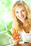 Woman with carrots and vegetables Royalty Free Stock Photo
