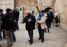 Woman carry near Holy Sepulcher church Royalty Free Stock Photography