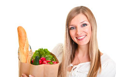 Free Woman Carrying Bag Of Groceries Stock Photography - 18519362