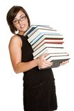 Woman Carrying Books Royalty Free Stock Photography